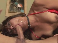 Piping hot Asian babe gets face full for cum