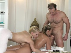 DaneJones girl has two strong men massaging her