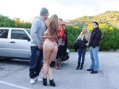 russian chick sucks cock back parking lot