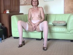 Overheated housewife playing on her chaise longue