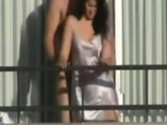 Afoul Massive Man Fucking His Cutie on the Balcony!