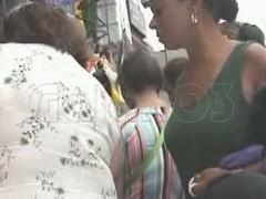 A snoop cam upskirt videotape of an unwarned hot ebony girl