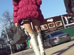 Thimbleful panties trull about teeny-weeny skirt about public undeceitful video