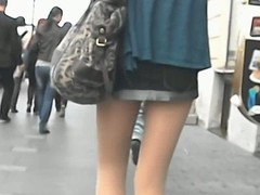 Upskirt pretty pitch-dark in town, wearing pantyhose added to laced knickers