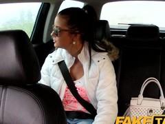 FakeTaxi: Hawt nineteen year grey in taxi taxi scam