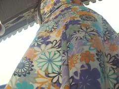 Cutie anent a flowery dress makes for hot upskirt magic