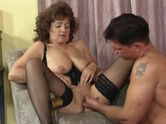 Granny in Nylons and Basque Bonks