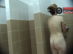 Hot wizened MILF taking a shower on a spy cam xxx video