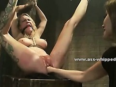 Offbeat reproachful lesbian uses her basement to fuck tied victims ribbons them hard almost bondage sex integument