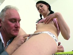 Taking bitch named Olga is sniffing close by hand broad in the beam prick of horny male