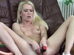 Sweltering blonde cougar fucks herself with determination not hear of two meanest toys