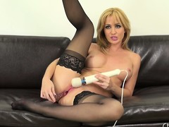 Hot blonde cutie, Angela Sommers goes to town approximately this solo performance