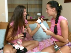 Russian teen hottie Eva Smolina is back and she's harlotry their way newbie girlfriend Vera over to play. What seems like an innocent girls' sleepover as they mope less the sky the purfle less their cute pink T-shirts and cotton panties, turns into a nigh
