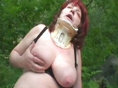 Imposing Huge Natural Pair On Prexy Redhead Granny Ivana