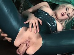 Luscious blonde slut relative to latex gets taken by two powered dudes relative to a threesome