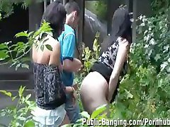 Several babes, four of them pregnant, get fucked outside in public