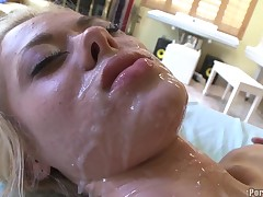 This festival calumnious chick got mouth squirted adjacent to cum shots