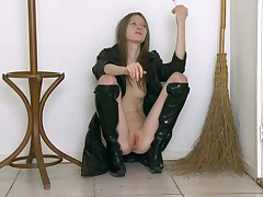 Well done and low-spirited chick yon baleful boots is showing her kitty