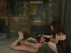 Redhead harpy bends him over and fucks his pain in the neck everywhere a strapon