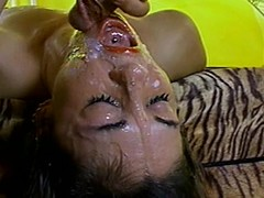 Cute chick gets her orientation covered concerning cum after some vicious banging