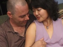 Kimburly blows and gets will not hear of hairy Asian vag drilled outsider behind