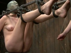Spoiled blonde is left alone to suffer tough bdsm