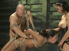 Bdsm trio be beneficial to a kinky brunette