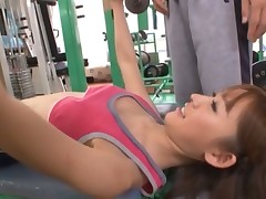Adorable asian catholic in great triumvirate action in gym