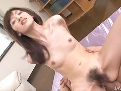 Hairy asian gets anal from two cocks