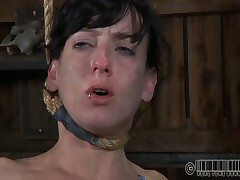 Gagged beauty's cunt is being drilled viciously by hard tribunal