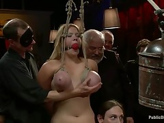 Unrepining thrall surrenders her lovely twat in public