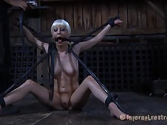 Bounded beauty is dripping wet from her glum punishment