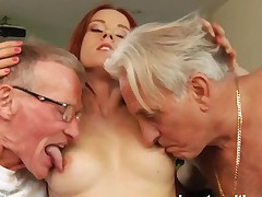 Teen hottie take two old cocks