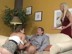 Slutty dick sucking cutie interrupted by a naughty mommy